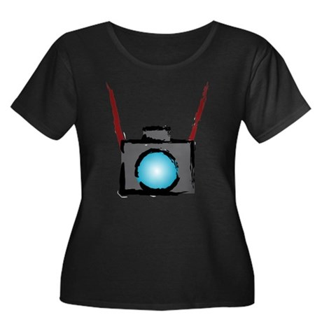 WTD: Camera On Women's Plus Size Scoop Neck Dark T