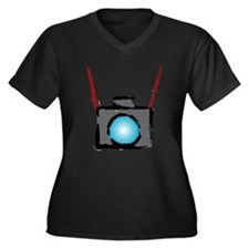 WTD: Camera On Women's Plus Size V-Neck Dark T-Shi