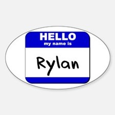 hello my name is rylan Oval Decal