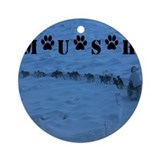 Dog sled Round Ornaments