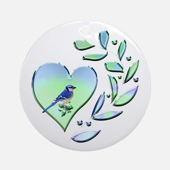 Blue Jay Lover Round Ornament
