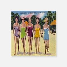 "Vintage Florida Bathing Bea Square Sticker 3"" x 3"""
