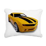 Yellow race car Throw Pillows