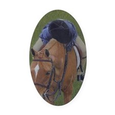 Young Rider and Pony Oval Car Magnet