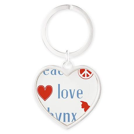 Peace Love Sphynx Cats Heart Keychain
