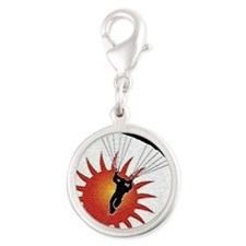 Sunset Skydive Silver Round Charm