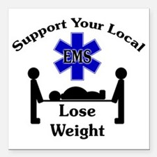 "SupportEMS Square Car Magnet 3"" x 3"""