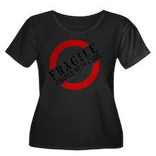 FRAGILE  Women's Plus Size Dark Scoop Neck T-Shirt
