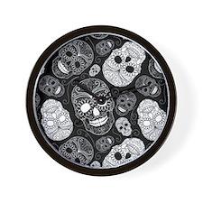 White Sugar Skulls Wall Clock