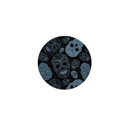 Blue Sugar Skulls Mini Button
