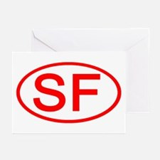 SF Oval (Red) Greeting Cards (Pk of 10)