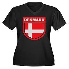 denmark_embl Women's Plus Size Dark V-Neck T-Shirt
