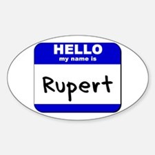 hello my name is rupert Oval Decal