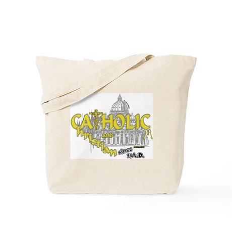 Catholic and Christian (Gold) Tote Bag