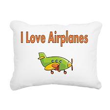 I Love Airplanes Rectangular Canvas Pillow