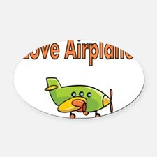 I Love Airplanes Oval Car Magnet