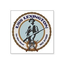 "USS Lexington Square Sticker 3"" x 3"""