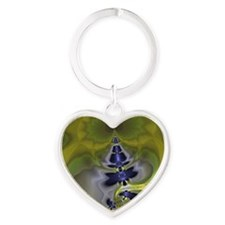 Green Goblin Abstract Fractal Heart Keychain