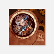"Steampunk Space Chimp Porth Square Sticker 3"" x 3"""