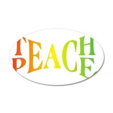 Teache Peace, Autism Awarene 35x21 Oval Wall Decal
