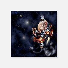 """Steampunk Space Chimp Square Sticker 3"""" x 3"""""""