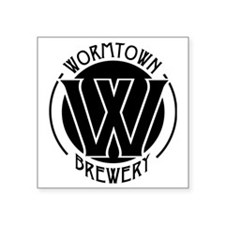 "Wormtown_BW_Logo Square Sticker 3"" x 3"""