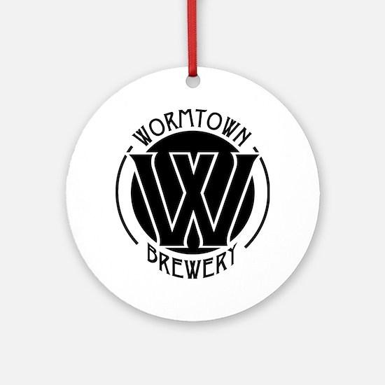 Wormtown_BW_Logo Round Ornament