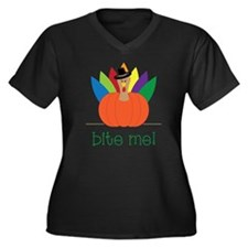 Bite Me Women's Plus Size Dark V-Neck T-Shirt