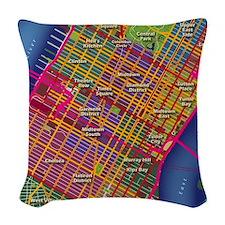 Midtown Manhattan Map Woven Throw Pillow