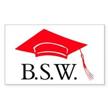 Red BSW Grad Cap Rectangle Decal