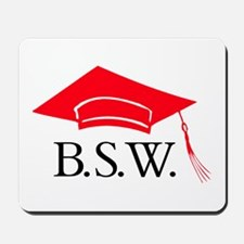 Red BSW Grad Cap Mousepad