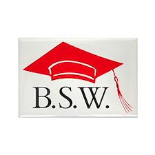 Red BSW Grad Cap Rectangle Magnet