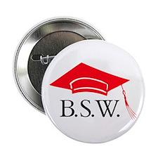 Red BSW Grad Cap Button