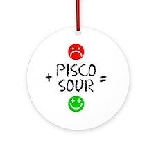 Plus Pisco Sour Equals Happy Round Ornament