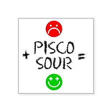 """Plus Pisco Sour Equals Happ Square Sticker 3"""" x 3"""""""