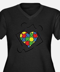 autismAwaren Women's Plus Size Dark V-Neck T-Shirt