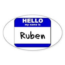 hello my name is ruben Oval Decal