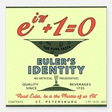 "Euler's Identity : The P Square Car Magnet 3"" x 3"""