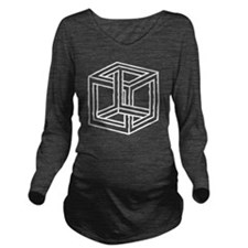 Cube Illusion Long Sleeve Maternity T-Shirt