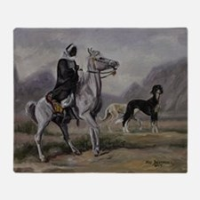 Arabian Horse and Saluki Dog Throw Blanket