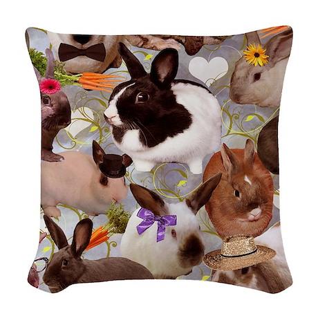HappyBunniesBlanket Woven Throw Pillow
