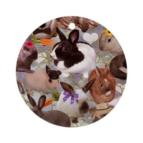 HappyBunniesBlanket Round Ornament