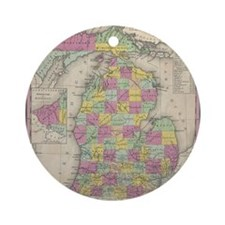 Vintage Map of Michgan Round Ornament