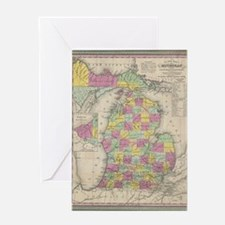 Vintage Map of Michgan Greeting Card