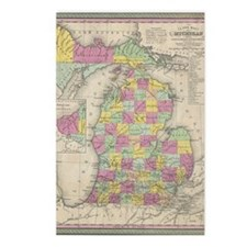 Vintage Map of Michgan  Postcards (Package of 8)