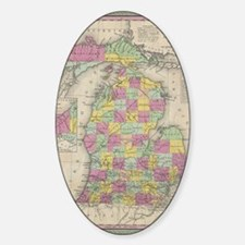 Vintage Map of Michgan Sticker (Oval)