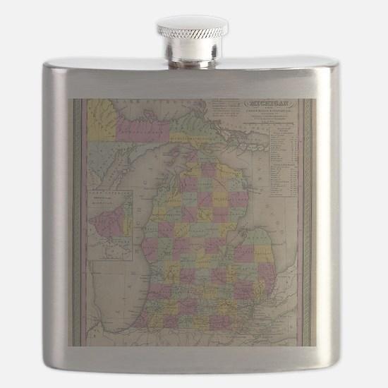 Vintage Map of Michgan Flask