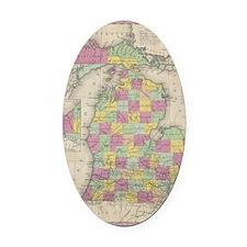 Vintage Map of Michgan Oval Car Magnet
