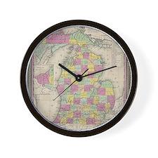 Vintage Map of Michgan Wall Clock