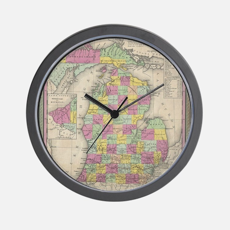 Vintage Map of Michgan Wall Clock
